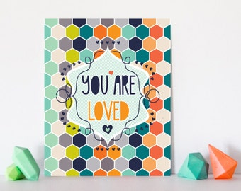 Orange and Gray Nursery Decor Wall Art Print You Are Loved: Honeycomb Neutral