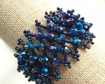Blue beetle bead bracelet