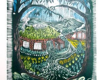 Original Wood Cut, Round House, Erin MacAirt, Print Making