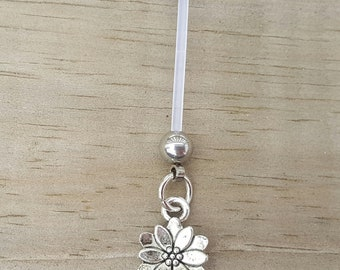 Flower Pregnancy Belly Button Ring, Bioflex 14 Gauage, Maternity Jewelry, Navel Piercing.