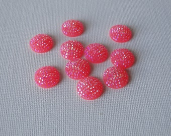 Set of 10 jelly cabochons with Rhinestones pink 12 mm