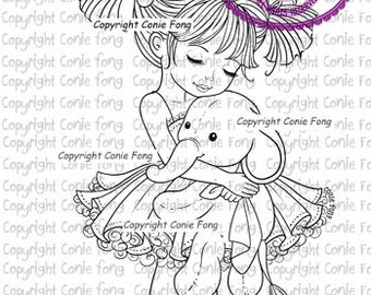 Digital Stamp, Digi Stamp, digistamp, Emma and Ellie by Conie Fong, Girl, elephant, children, coloring page, scrapbooking