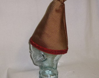 Gold and Burgundy Wizard Hat, Scrunched Top