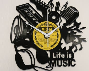 Vinyl clock Vinyl wall clock Vinyl record clock Wall clock Record clock Music clock Vinyl record art Wall music Vinyl crafts Unique clock