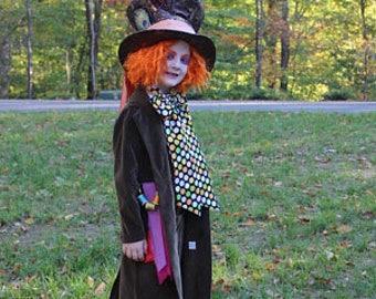 Mad Hatter Coat in Brown Velveteen Costume for Mad Hatter Alice in Wonderland Party