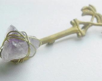 Amethyst brooch, raw stone jewelry, raw amethyst brooch, Vintage rustic coconut tree brass spoon, February Birthstone, Hat pin, scarf pin