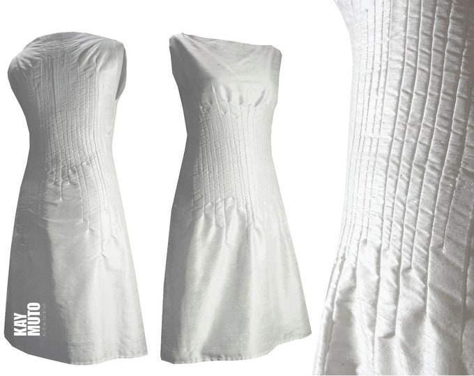 Sale 40% size SMALL and LARGE silk dress with sewn-in tucks OFFWHITE