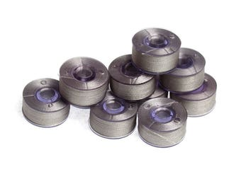 Prewound Bobbins Silver Colour Size A 10 or 20 Polyester Filament Machine Embroidery Thread Brother Color 005