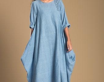 New Cow Sky Dress Blue Dress / Drape dress / Designer / style / loose / Oversized cotton dress/ Sleeveless / Summer Dress/ Antifit/ Offwhite