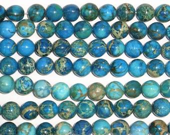 10mm Round Imperial Blue Jasper Beads Genuine Natural 15''L Semiprecious Gemstone Bead Wholesale Beads Supply