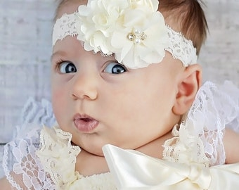 Ivory Lace Headband, Baby Headband. Ivory Hair Bow, Newborn Headband, Baptism Headband - Christening Headband