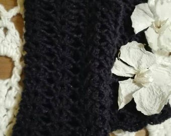 Hand-made crochet gloves in soft wool blue night _ a trendy gift for her