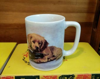 Vintage Otagiri Japan Linda Picken Design Golden Retreiver Dog and Duck Mug