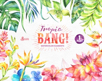 Tropic Bang Elements part 1. Watercolor clipart, lily, hibiscus, orchids, wedding invitation, floral, beach, greetings, diy clip art