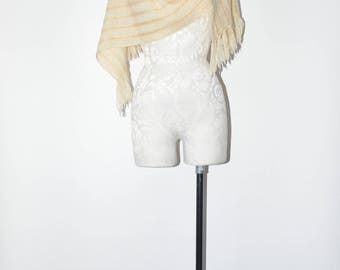 60s natural wool scarf / 1960s gold knotted shawl / vintage metallic fringe scarf