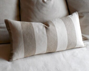 FRENCH LAUNDRY  linen stripes pillow 13x26 with insert