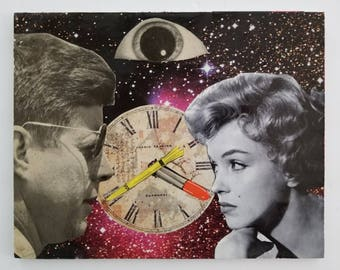 Marilyn and JFK in the Twilight Zone, Hand Made Collage, Marilyn Monroe