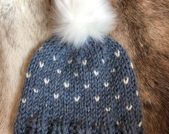 Hand knit toddler hat blue