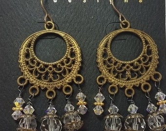 Earrings Clear Crystal & Antique Brass Filigree