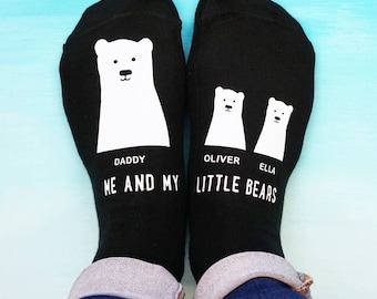 Daddy Bear Socks - My Little Bear Socks - Father's Day Socks - Personalised Socks
