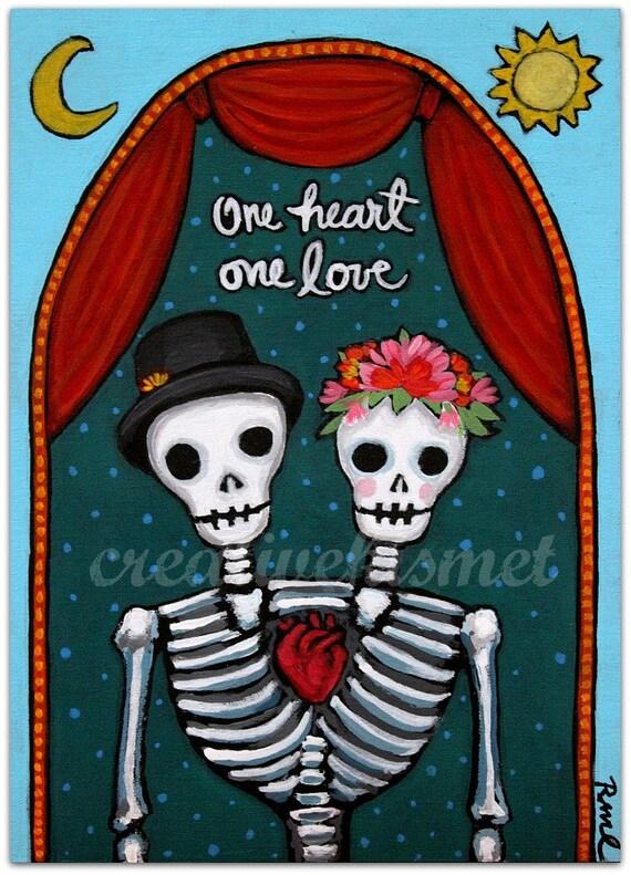 One Heart Love Day Of The Dead Dia De Los Muertos