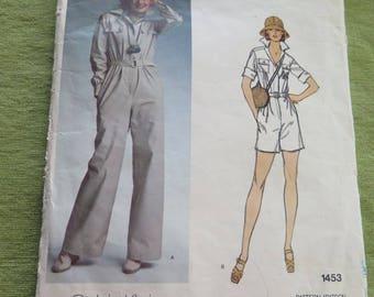 Vintage Vogue 1453 American Designer Calvin Klein Safari Jumpsuit Sewing Pattern sz 10