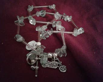 Motorcycle with quartz necklace