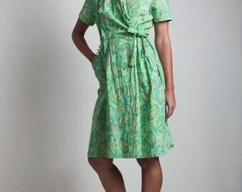 vintage 60s green wrap dress paisley 100% cotton loop trim tie waist LARGE L