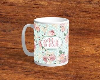 Monogrammed Mug,Rose Polka Dots Mug, Gift, Coffee Mug, Ceramic Mug, Personalized Mug
