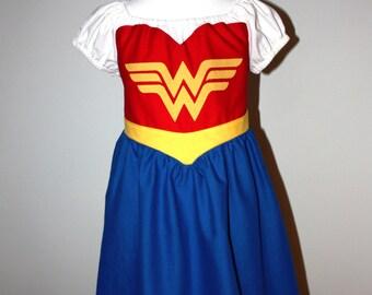 Child Sized Wonder Woman Cotton Dress