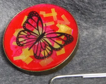 Resin butterfly brooch, iridescent and shiny