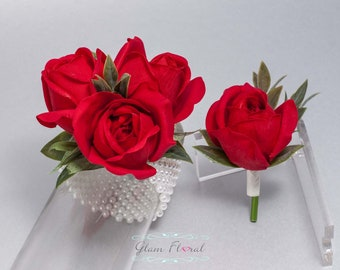 Red Corsage and Boutonniere Set - Real Touch Flowers, Prom Corsage, Red Rose Boutonniere, Red Rose Wrist Corsage, ruby crimson scarlet red