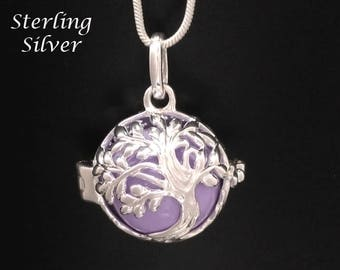 Tree of Life Chiming Necklace, Sterling Silver Celtic Tree of Life Necklace with Lavender Chime Ball | Bola Necklace, Angel Caller 862