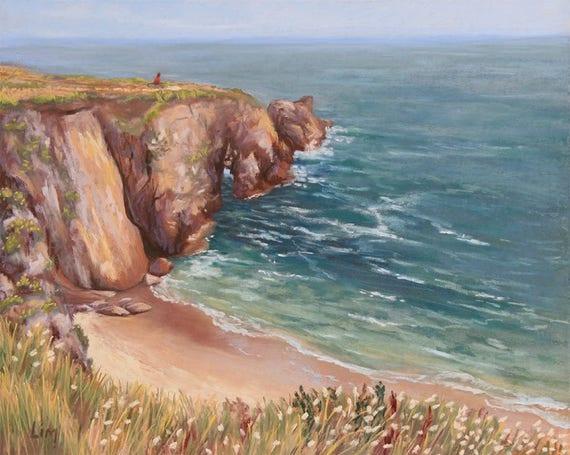 Peinture au pastel sec d 39 une plage bretonne paysage - Tableaux mer et plage ...