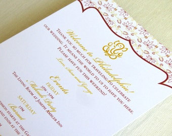 Ganesh Indian Wedding Itinerary Card - Welcome Bag Card - Hindu Events Card - Destination - Custom Colors