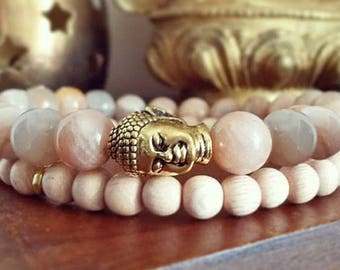 Buddha Bracelet Set - Sunstone Bracelet with Gold Buddha, Gemstone and Pink Rosewood Beads for Confidence and Positive Thinking