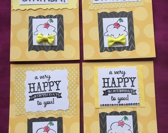 Happy Birthday Handmade Four card set