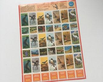 Vintage gummed wildlife stamps 1973