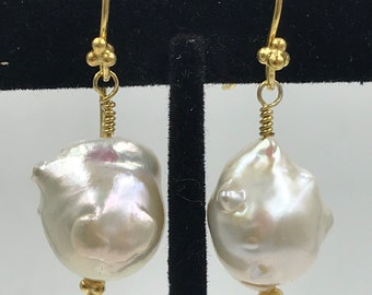Medium Baroque Pearls on Gold Wires