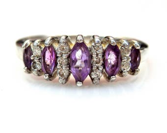 Sterling Silver Marquise Amethyst Cubic Zirconia Accent Cathedral Ring