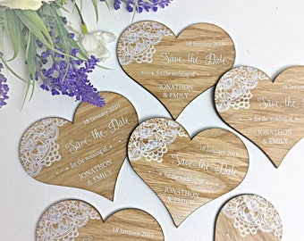 Personalised Perspex Wedding Save The Date Heart