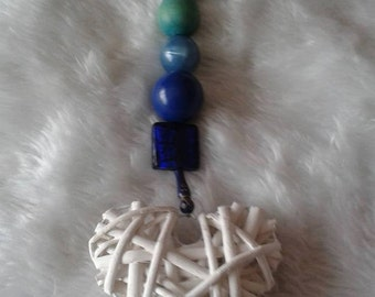 Blue Beaded White Cane Heart