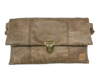 Envelope bag vintage brown - ladies bag tough - clutch bag vegan - gift idea woman