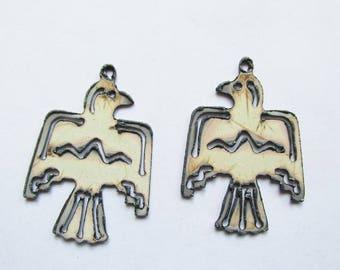 Thunderbird pair (set) earrings small pendants #EWKS-12-WH-Ear