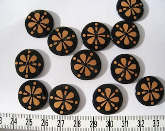 20 pcs of  Orange and Black Flower Button Graphic Print Button  -  19mm