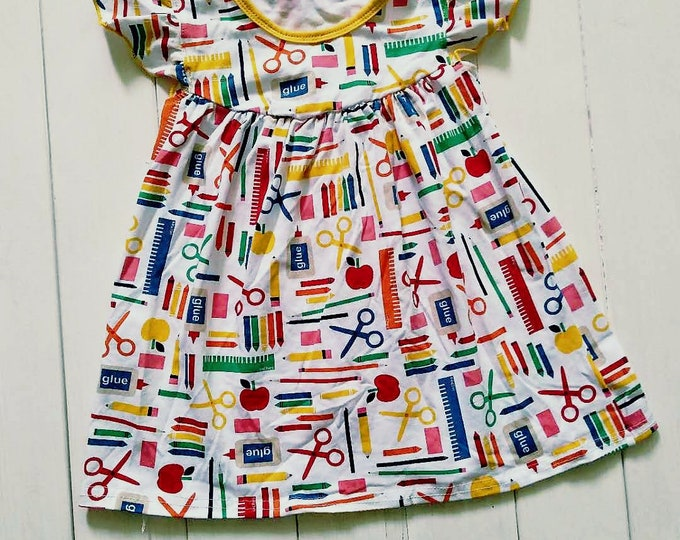 Featured listing image: School Days Dress, Back To School Print, Little Girls Soft Cotton Dress, Flutter Sleeve Dress, School Pictures, Boutique Clothes