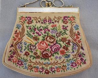 Petit Point Purse Mid Century Floral Vintage