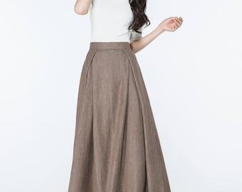 linen skirt, brown skirt, maxi skirt, skirt, womens skirts, vintage skirt, long skirt, pleated skirt, linen skirt with pockets  C1063