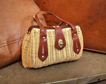 Vintage Woven Handbag Natural Resin Coated Wicker With Leather Trim handles and latch  Twistlock Hong Kong