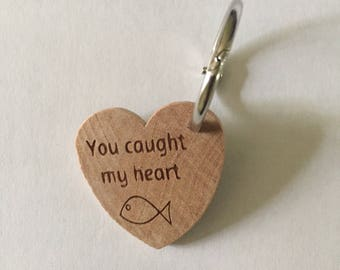 Valentines day gift. Valentines Day Key Chain. You Caught My Heart,